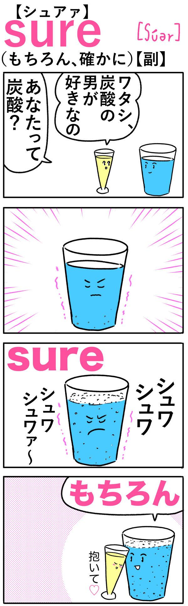 sure(もちろん)の語呂合わせ英単語