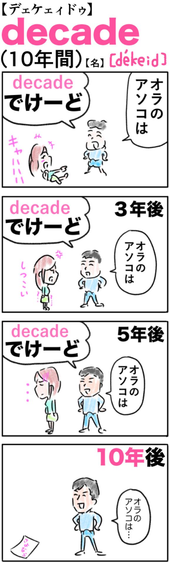 decade(10年間)の語呂合わせ英単語
