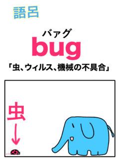 bug「虫、ウィルス、機械の不具合」の覚え方【語呂合わせで英単語を暗記!】