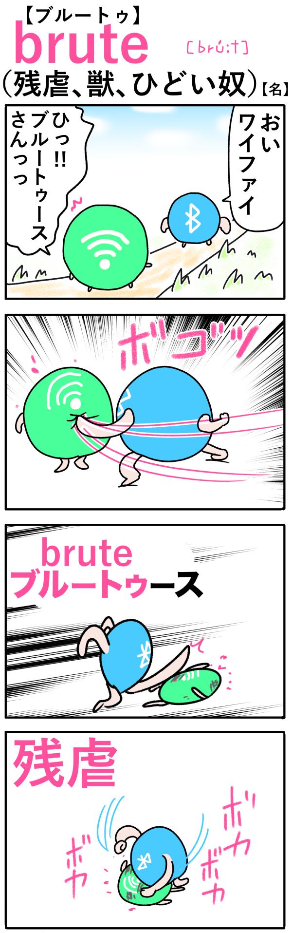 brute(残虐、獣)の語呂合わせ英単語