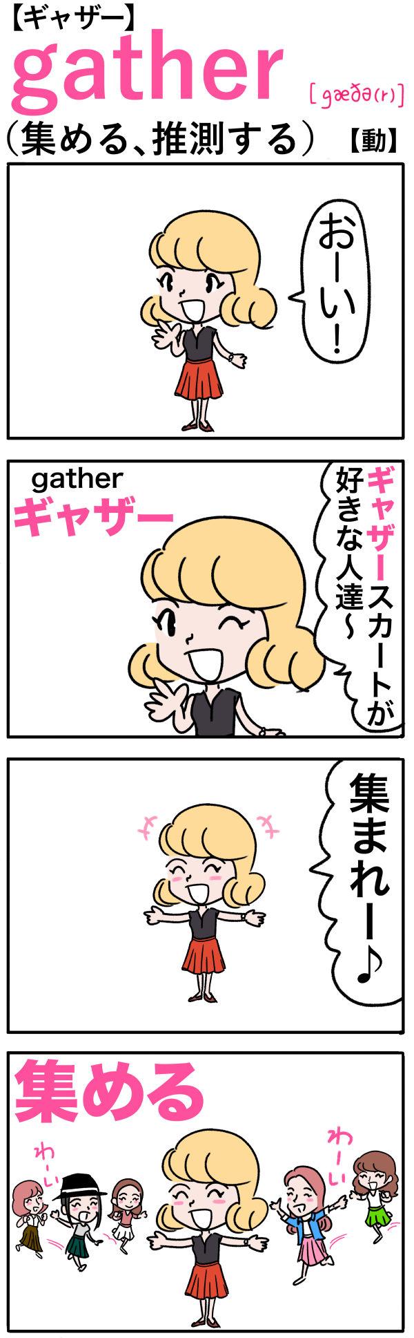 gather(集める、推測する)の語呂合わせ英単語