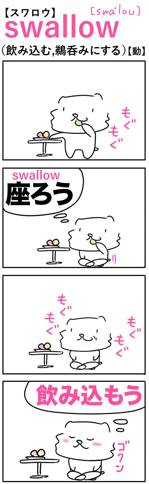 swallow(飲み込む)の語呂合わせ英単語