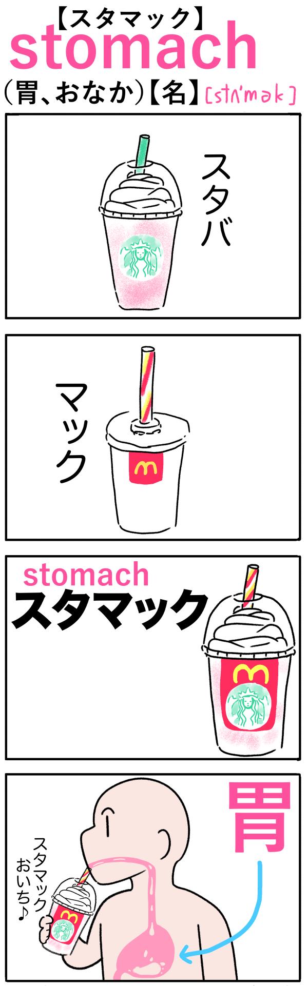 stomach(胃、おなか)の語呂合わせ英単語