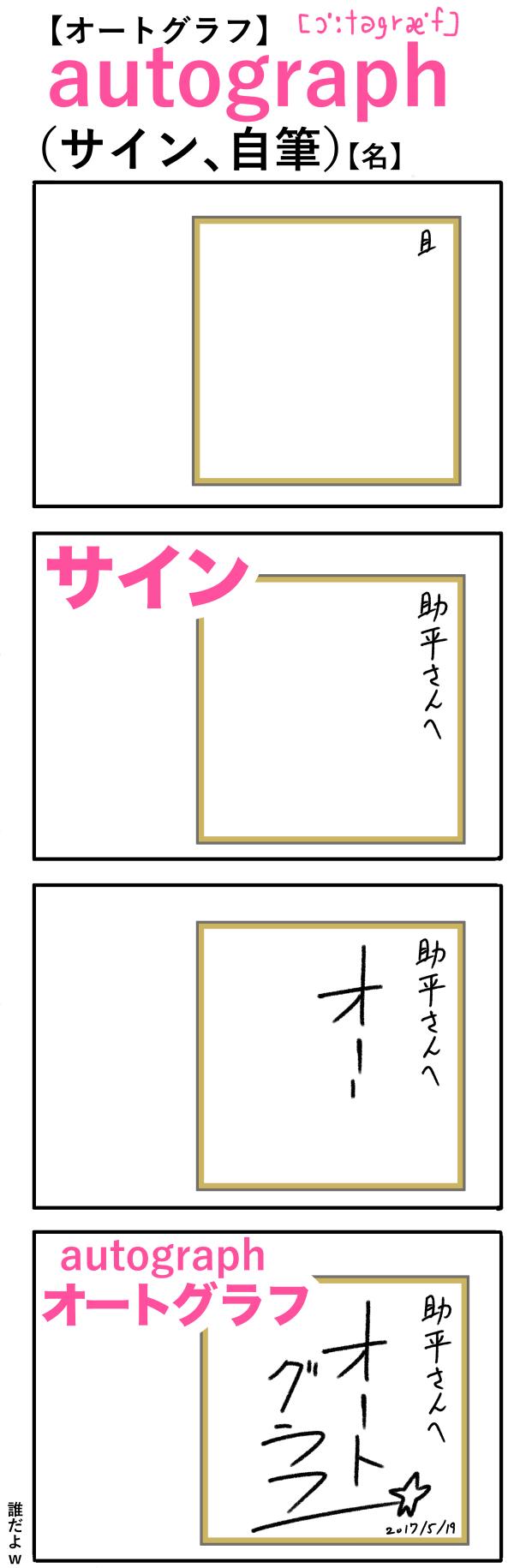 autograph(サイン、自筆)の語呂合わせ英単語