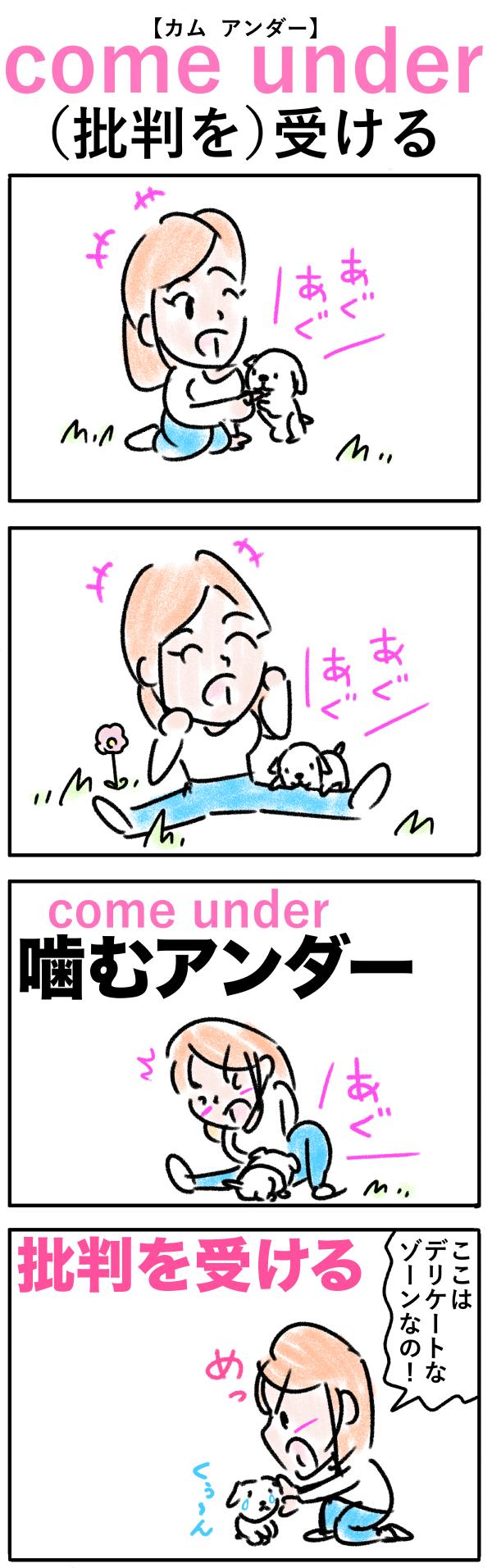 come under(批判を)受けるの語呂合わせ英単語