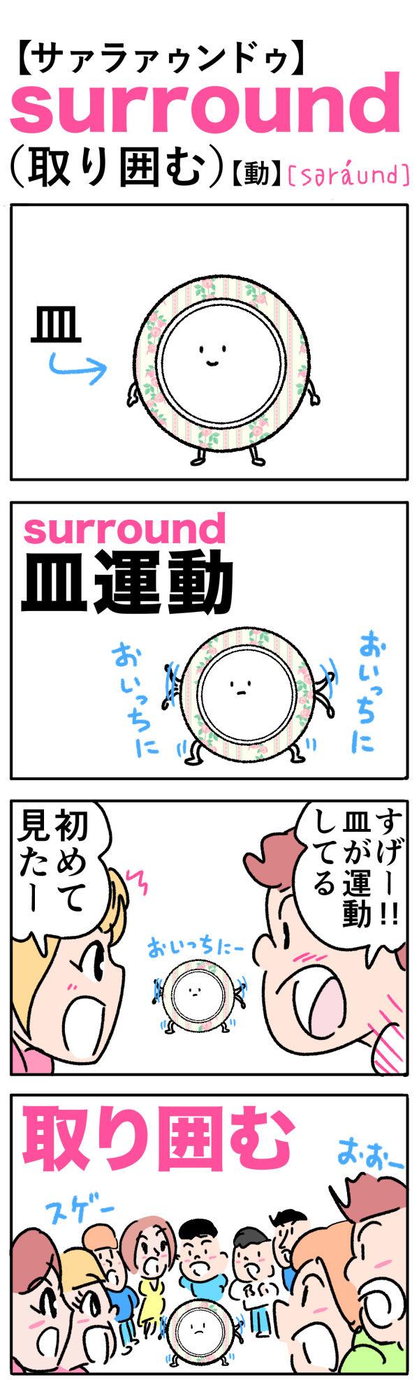 surround(取り囲む)の語呂合わせ英単語