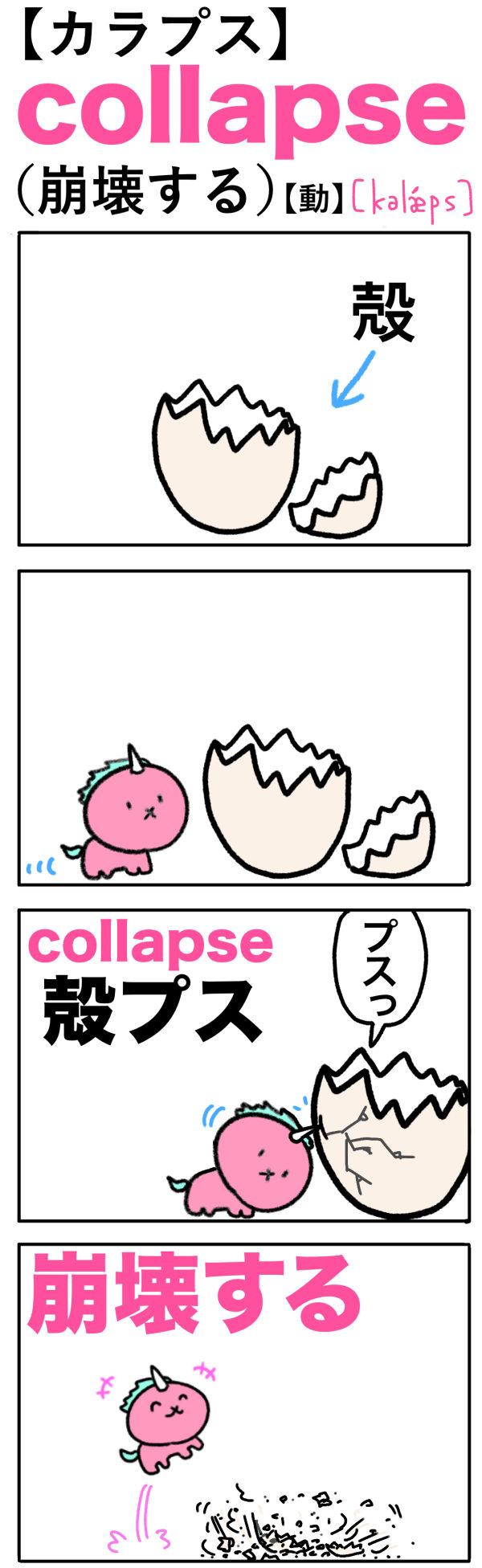 collapse(崩壊する)の語呂合わせ英単語