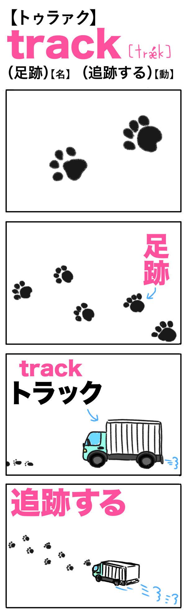 track(足跡)(追跡する)の語呂合わせ英単語