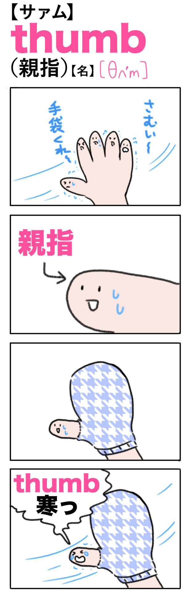 thumb(親指)の語呂合わせ英単語