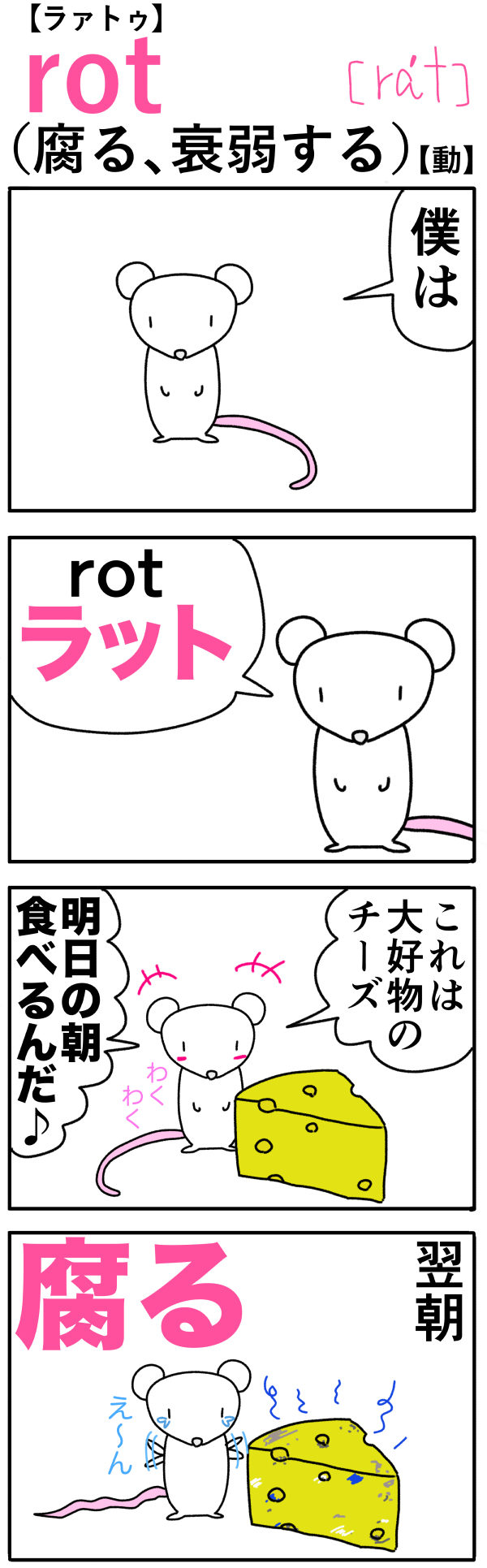 rot(腐る)の語呂合わせ英単語