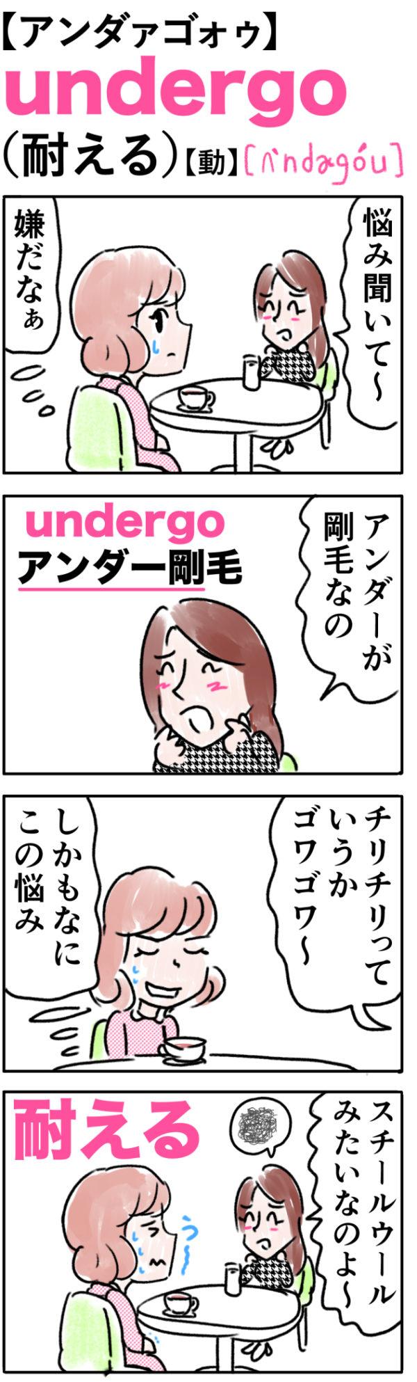undergo(耐える)の語呂合わせ英単語