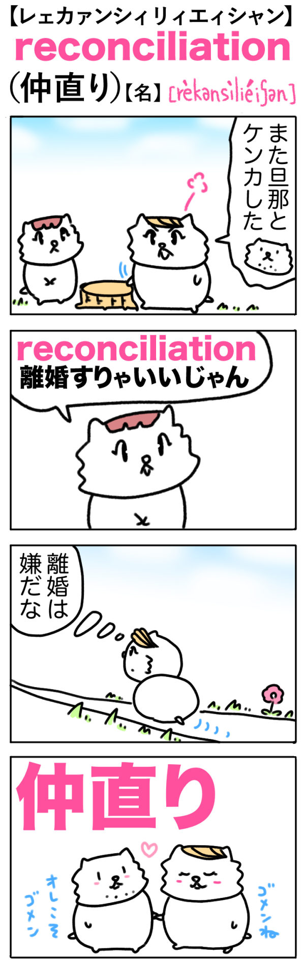 reconciliation(仲直り)の語呂合わせ英単語