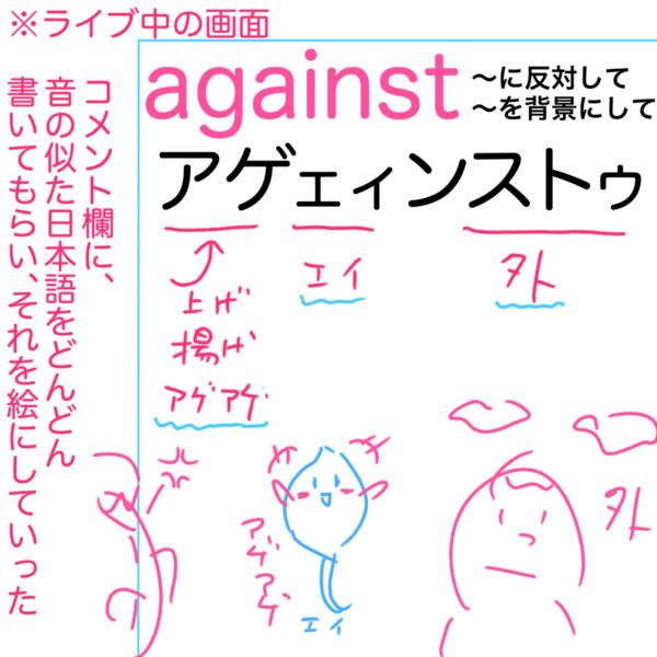 against(を背景にして、に反対して)