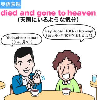 【英熟語】died and gone to heaven(天国にいるような気分)の使い方を漫画で解説!