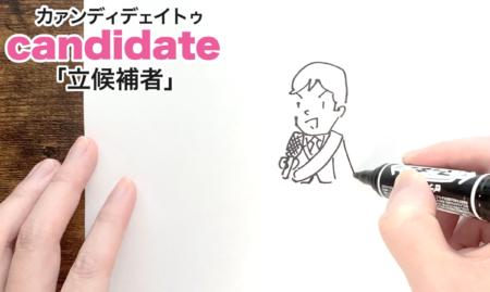 candidate「立候補者」の覚え方【語呂合せ英単語|TOEIC|英語の勉強方法】