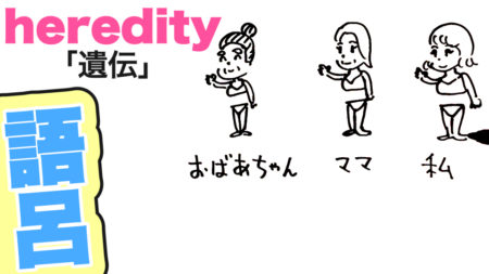 heredity「遺伝」の覚え方【英単語の語呂合わせ|子供英語|親子英会話】もちろん大学受験や語学留学にも!